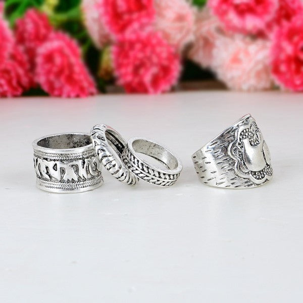4PCS Vintage Punk Ring Set Carved Antique Plated Elephant - The GearBuyz Store