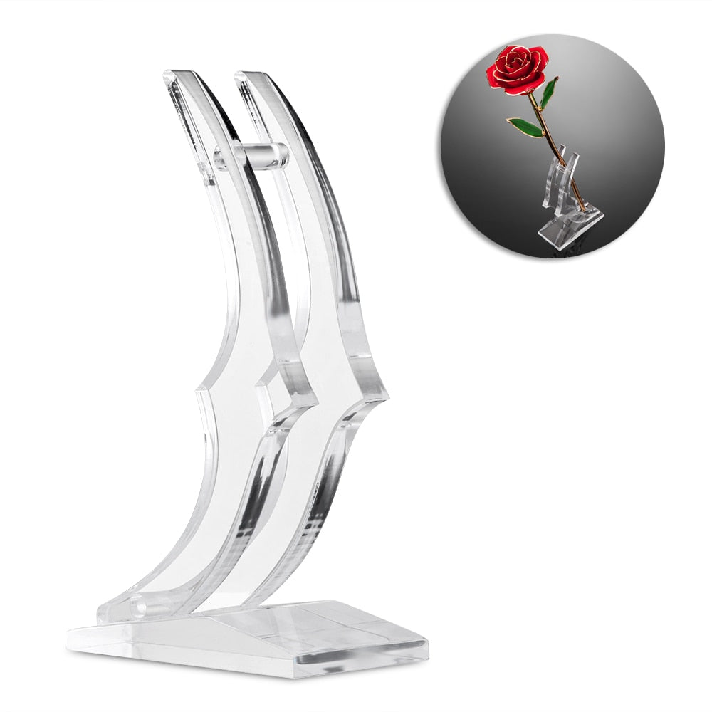 24K Gold Plated Rose Flower Stand - The GearBuyz Store
