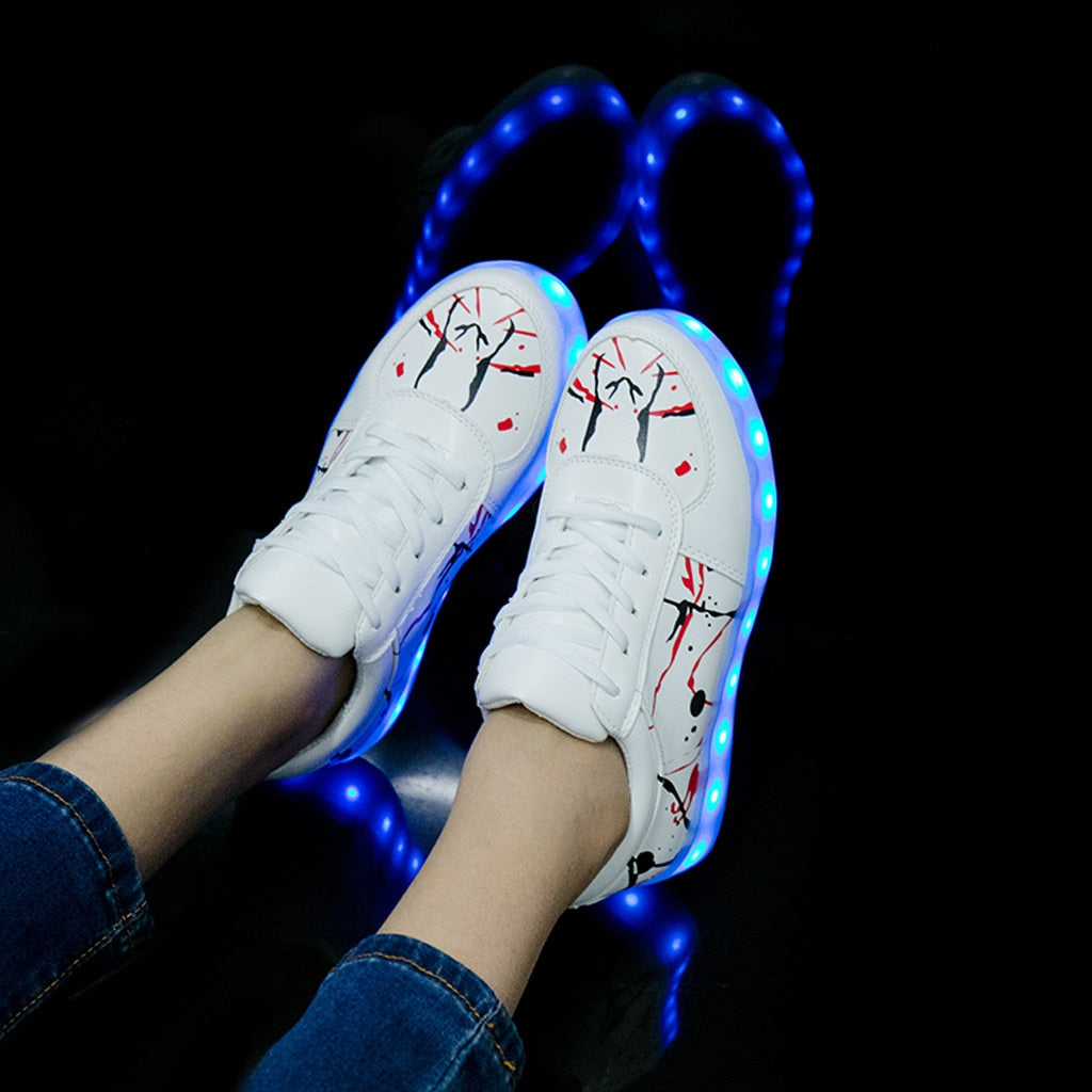 Red/Black Paint Splash White Led Light Up Sneakers - The GearBuyz Store