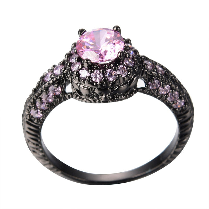 Pink Crystal pink Zircon Ring Black Gold Filled - The GearBuyz Store