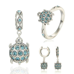 925 Sterling Silver Blue Crystal Turtle Jewelry Set - The GearBuyz Store