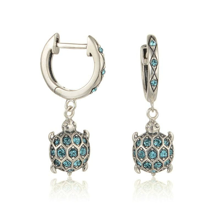 925 Sterling Silver Blue Crystal Turtle Drop Earrings - The GearBuyz Store