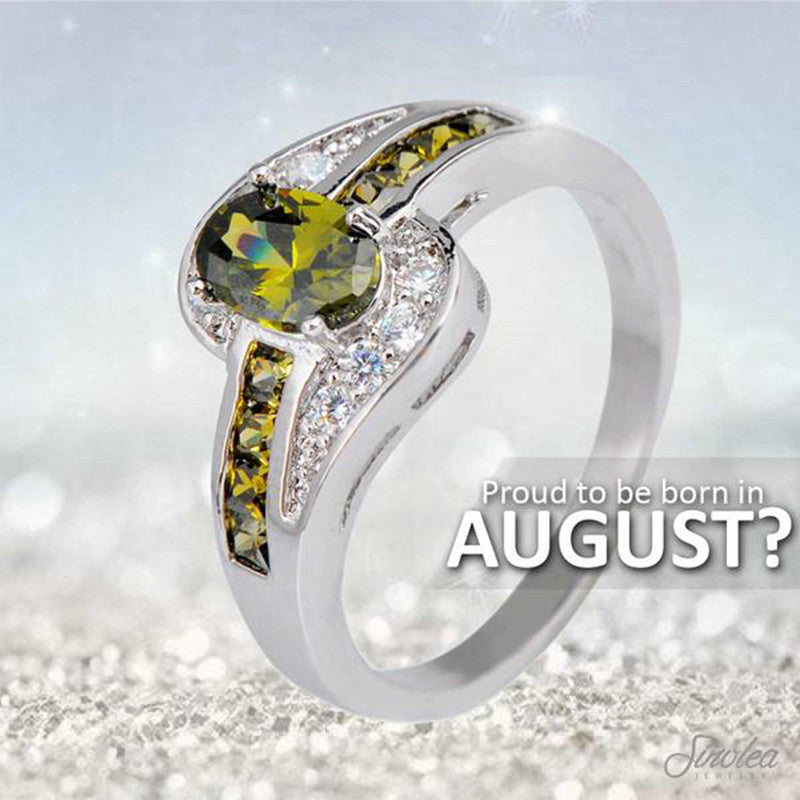 White Or Black Gold Filled Light Green August Birthstone Ring - The GearBuyz Store