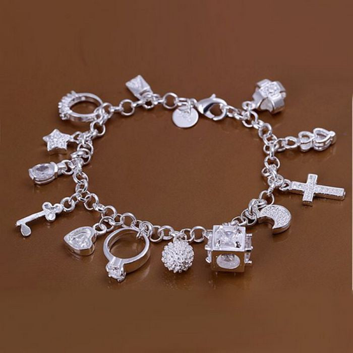 Lucky13 925 Sterling Silver Plated Charm Bracelet - The GearBuyz Store