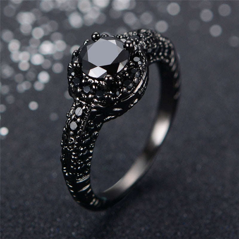 Black Crystal  Zirconia Ring Black Gold Filled - The GearBuyz Store