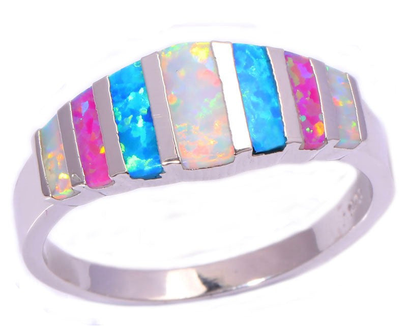 Pink Blue White Fire Opal Ring - The GearBuyz Store
