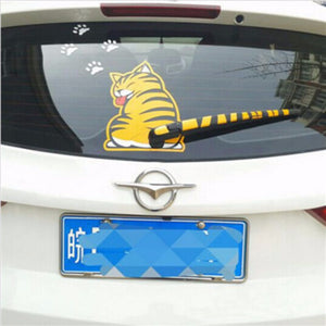 3D Cat Waging Tail Car Sticker & White Paws - The GearBuyz Store
