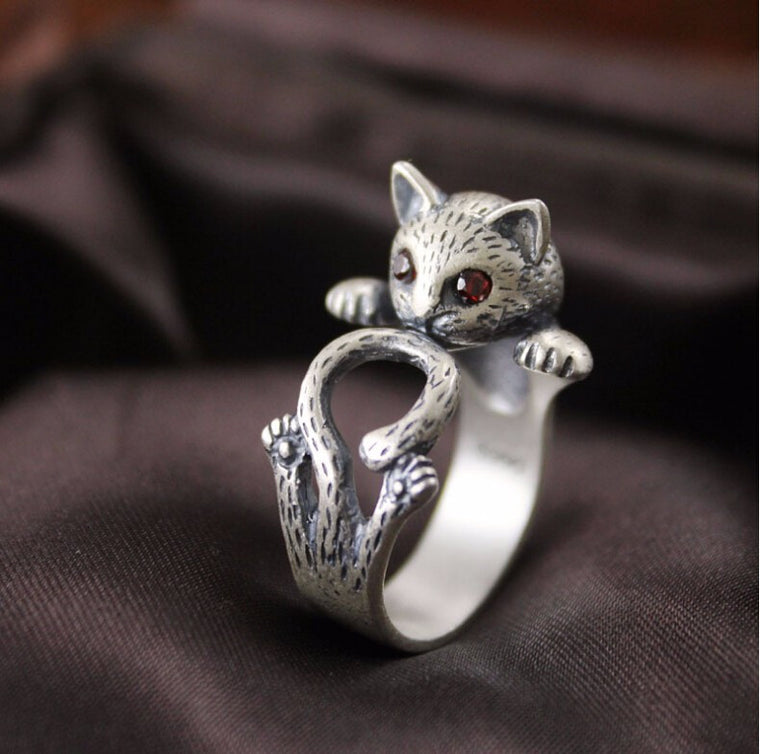 925 Sterling Silver Kitty Cat Adjustable Wrap Ring - The GearBuyz Store