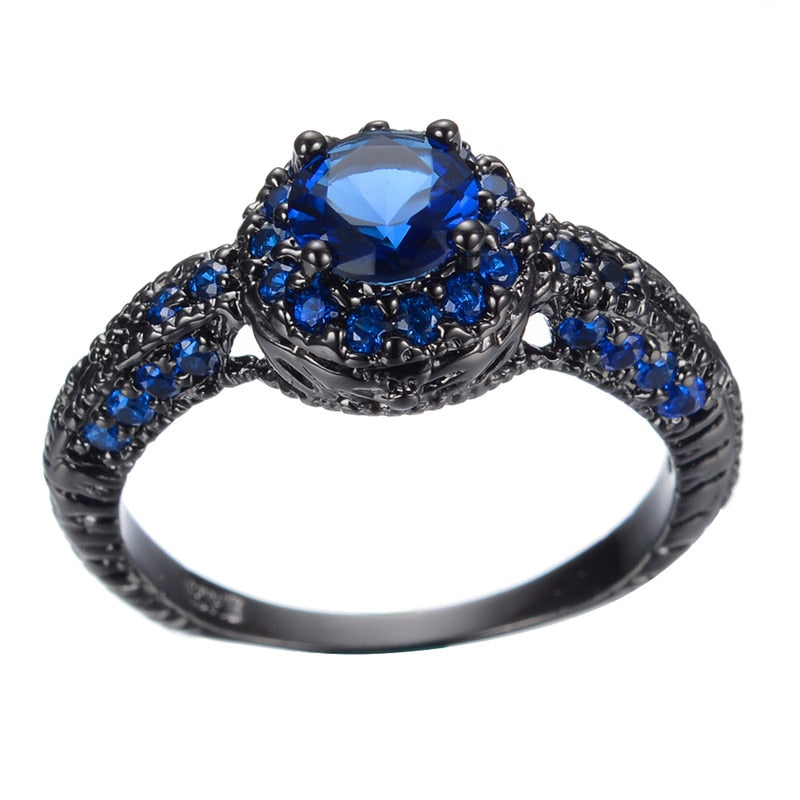 Blue Crystal blue Zircon Ring Black Gold Filled - The GearBuyz Store