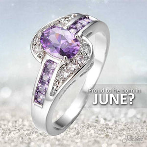 White Or Black Gold Filled Purple June Birthstone Ring