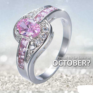 White Or Black Gold Filled Pink October Birthstone Ring