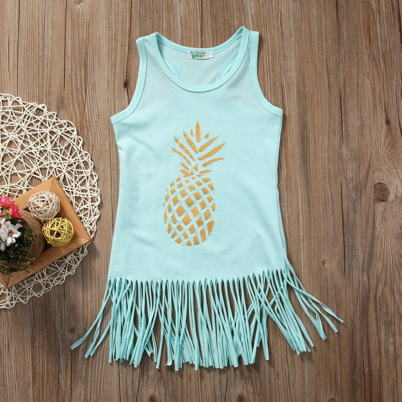 Sleeveless Pineapple Dress With Tassels - The GearBuyz Store