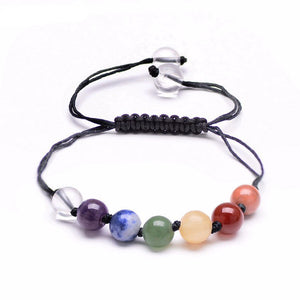 7 Chakra Natural Stone Beads Black Rope Bracelet - The GearBuyz Store