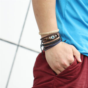 Mens/Womens Multi-Layer Leather & Bead Wrap Bracelets