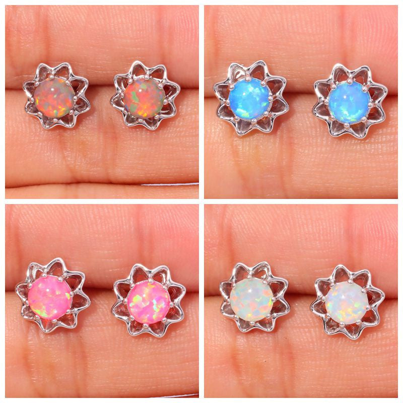 BUNDLE Orange White Pink Blue Fire Opal Silver Plated Earrings - The GearBuyz Store