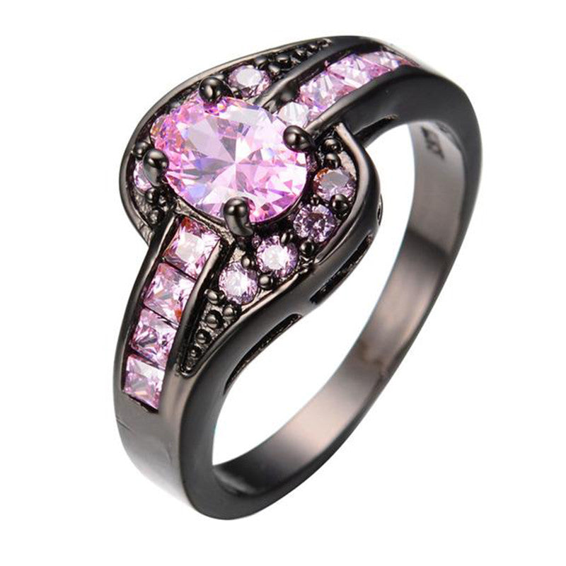 White Or Black Gold Filled Pink October Birthstone Ring - The GearBuyz Store