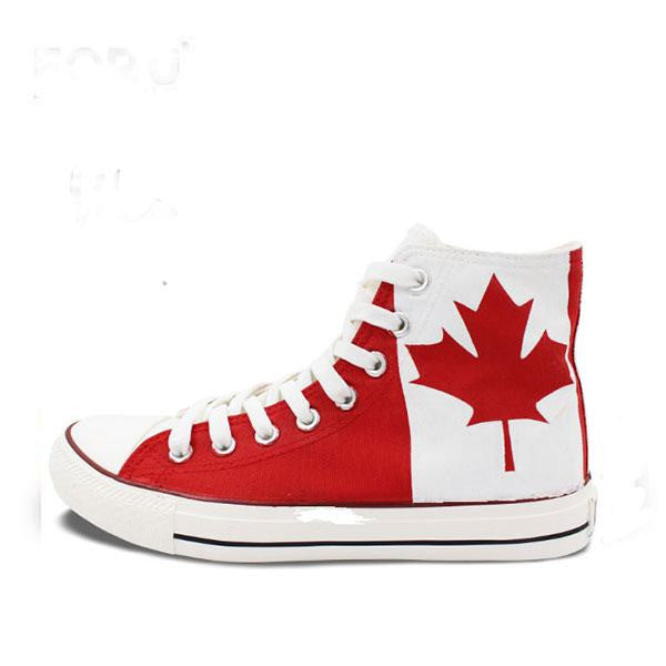 Mens/Womens Canadian Maple Leaf Hand Painted High Top Canvas Shoe - The GearBuyz Store