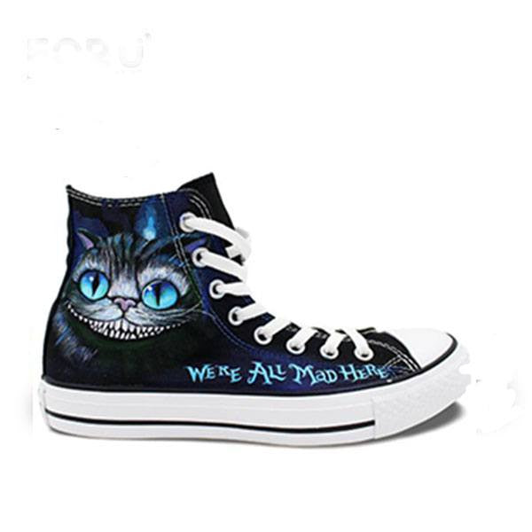 Mens/Womens Cheshire Cat Hand Painted High Top Canvas Shoe - The GearBuyz Store