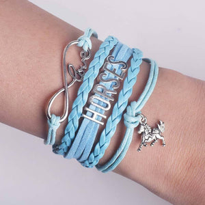 Handmade Infinity Love Horses Charm Leather & Rope Bracelet - The GearBuyz Store