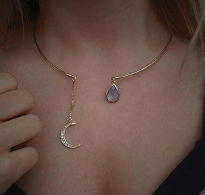 Free Crescent Moon & Crystal Drop Necklace