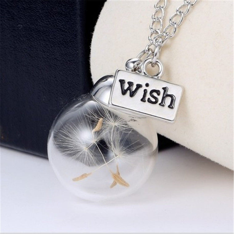 Glass Ball Wish Dandelion Seed Necklace & Pendant - The GearBuyz Store