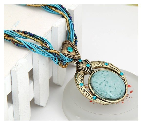 Retro Bohemian Style Necklace With  Multi layer Beads, Gems & Matching Color Stone - The GearBuyz Store