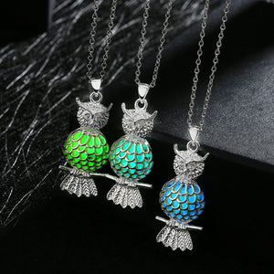 Silver Plated Glow In The Dark Owl Pendant Necklaces - The GearBuyz Store