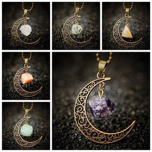 Vintage Moon Necklace With Irregular Natural Stone Pendant - The GearBuyz Store