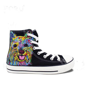 Mens/Womens Yorkie Hand Painted High Top Canvas Shoe - The GearBuyz Store