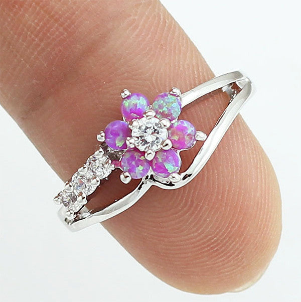 Stunning Fire Opal Flower Ring - The GearBuyz Store