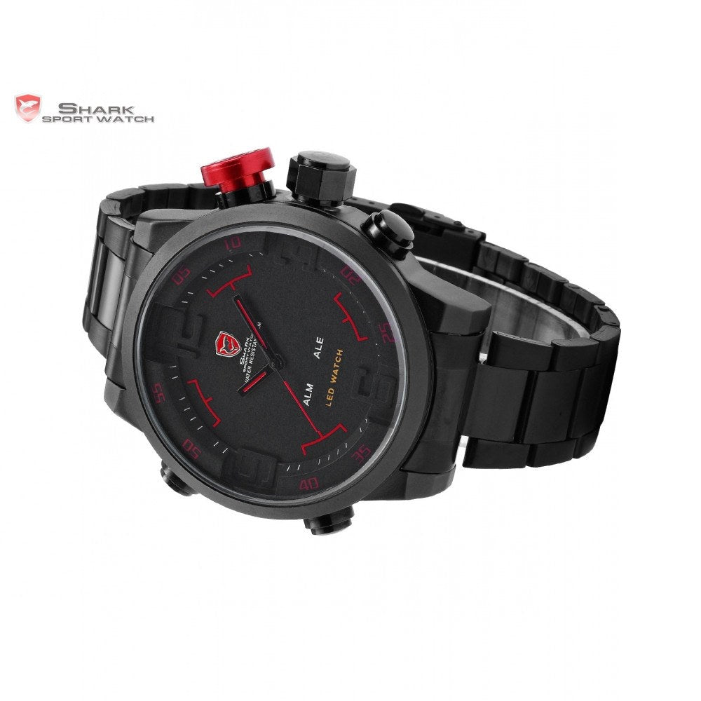 SHARK Sport Watch Digital LED Stainless Full Steel Black Red Date Day Alarm Men's Quartz Military Watch - The GearBuyz Store