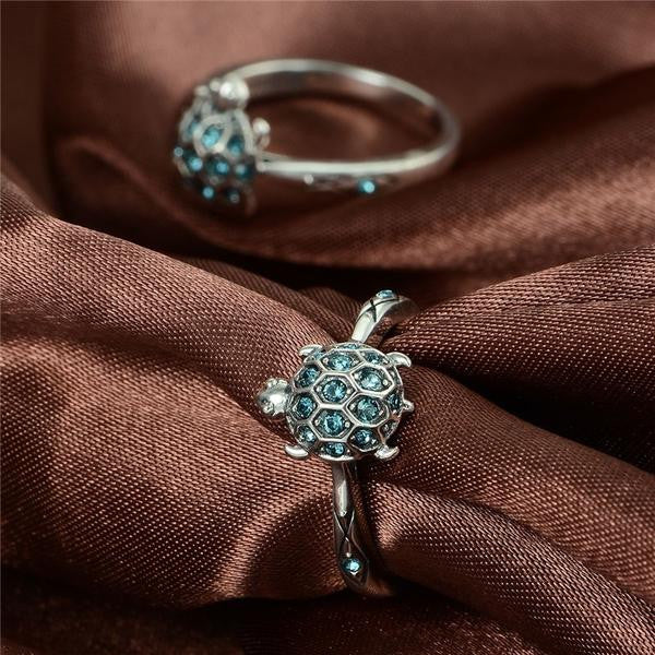 925 Sterling Silver Blue Crystal Turtle Ring - The GearBuyz Store