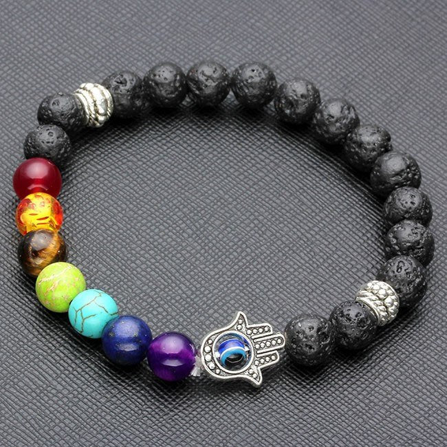 7 Chakra Bracelets Lava Turquoise Matte Agate Jasper & More 8mm Energy Beads - The GearBuyz Store