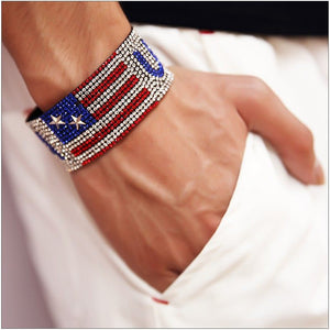 Mens Hip Hop USA Belt Bracelet Bling Bling Sparkly Rhinestone - The GearBuyz Store