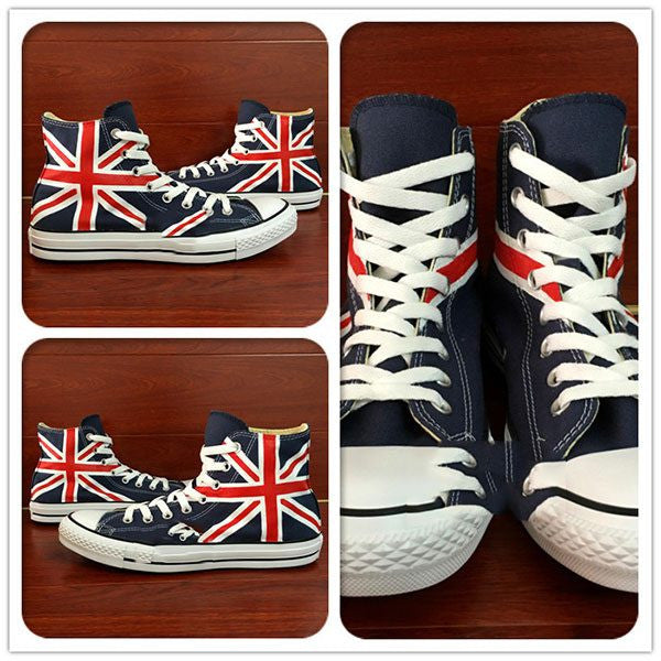 Mens/Womens UK Flag Hand Painted High Top Canvas Shoe - The GearBuyz Store