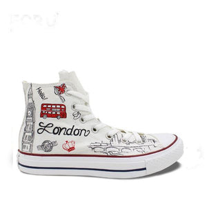 Mens/Womens UK Landmarks Hand Painted High Top Canvas Shoe - The GearBuyz Store