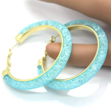 Crystal Mesh Large Gold Hoop Earrings - The GearBuyz Store