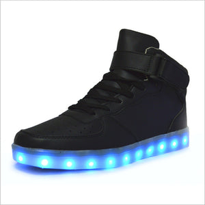 Mens/Womens High Top Buckle Light Up Led Casual Sneakers