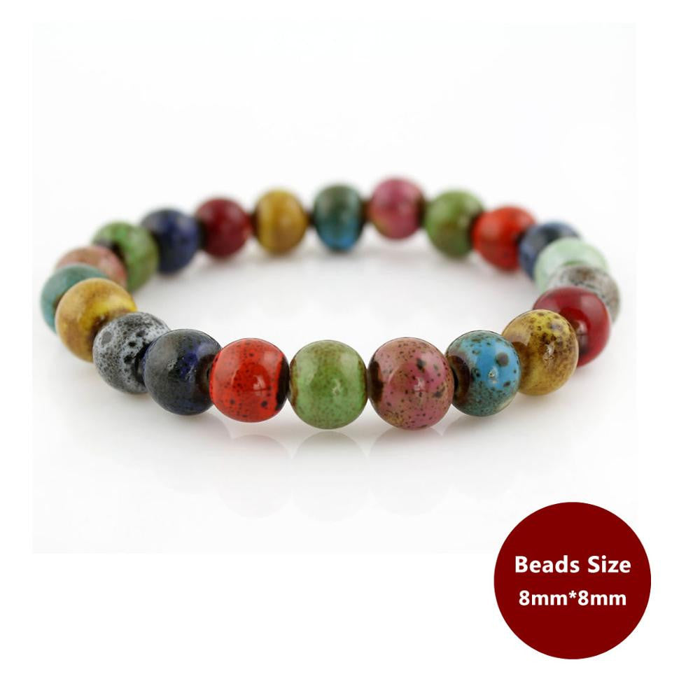 Bohemian Vintage Ceramic Stone Beads Bracelet In Various Shapes - The GearBuyz Store