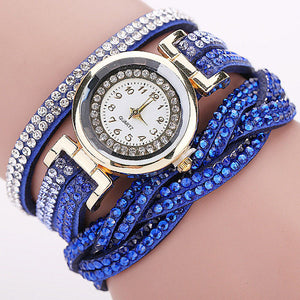 Casual Quartz Rhinestone Braided Leather Bracelet Watch - The GearBuyz Store
