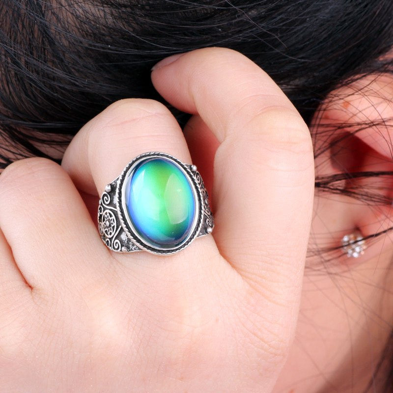 Vintage Bohemian Retro Color Changing Mood Ring Size 7,8,9 - The GearBuyz Store