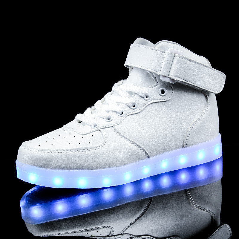 Mens/Womens High Top Buckle Light Up Led Casual Sneakers - The GearBuyz Store