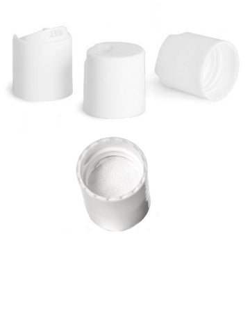 White PP 20/410 disc cap w/ pressure sensitive (PS) liner