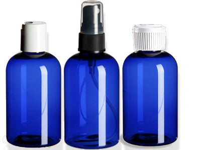 Cobalt Blue PET Bottles, 2 & 4 oz, wholesale