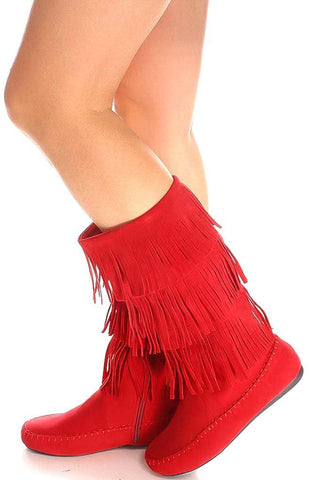 Red Fringe Boots