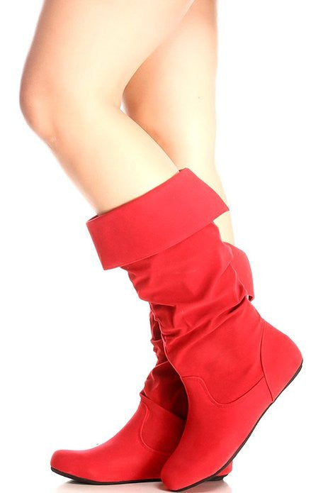 Red Flat boots