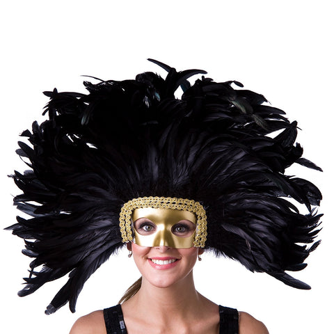 Feather headpiece with removable face mask