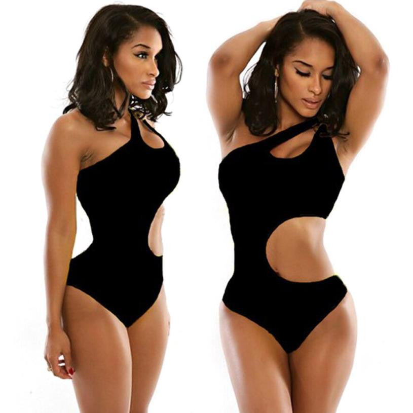 Black monokini swimsuit