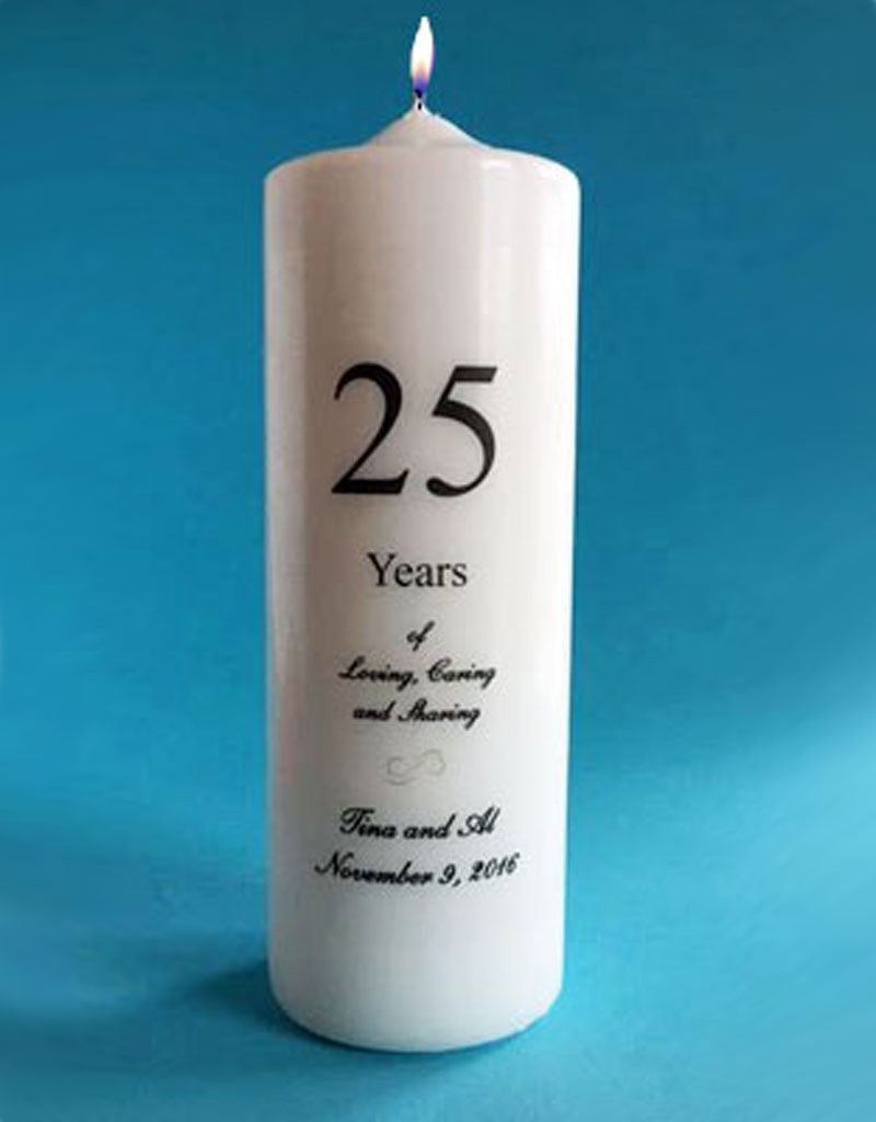Anniversary Candle Personalized with Years, white or ivory