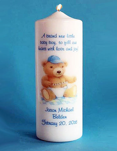 Personalized New Baby Boy Candle, white or ivory